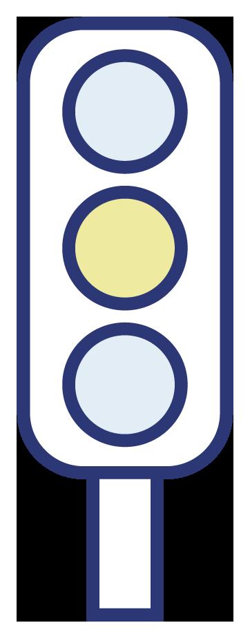 Illustrasjon av trafikklys med gult lys